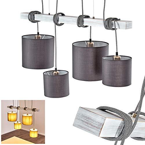 Pendelleuchte Bramois, Hängelampe aus Metall m. Textilkabel u. Leuchtenschirmen aus Stoff in Grau/Weiß, 4-flammig, 4 x E27 max. 42 Watt, Höhe 97 cm, Hängeleuchte im Retro/Vintage-Desgin, LED geeignet