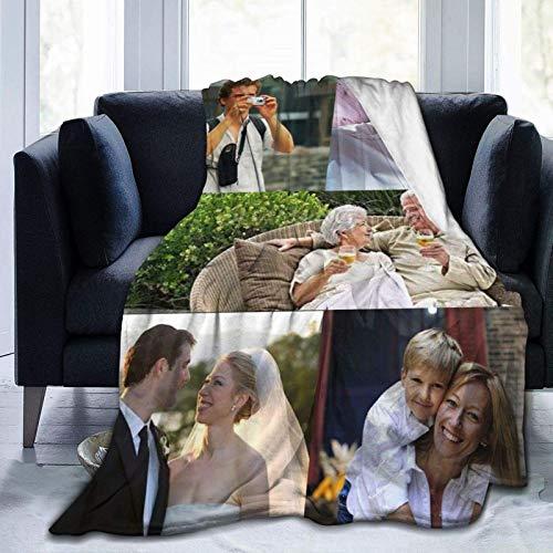 Mantas de forro polar de franela antibolitas, personalizadas, fotos, collage, diseño personalizado, mantas con texto de foto para amigos de familia, regalo personalizado 1