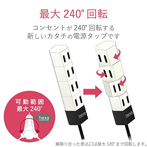 エレコム電源タップ回転式hexaコンパクト4個口2mホワイトT-HX7-2420WH