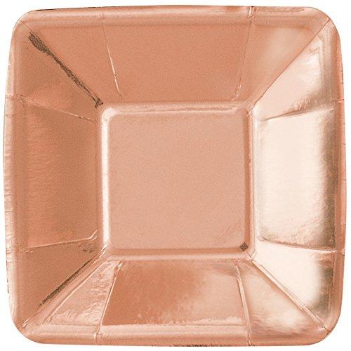 Unique Party 53477 12cm Foil Rose Gold Square Paper Appetiser Plates, Pack of 8
