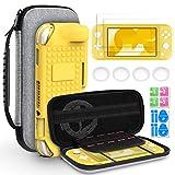 Hianjoo Tasche Kompatibel für Switch Lite, Travel Hülle Hartschale Hülle & Anderes Kompatibel für Switch Lite Zubehör, Aufbewahrungs Tasche/Gelb Hülle/Schutzfolie/Handgriffe Kappen