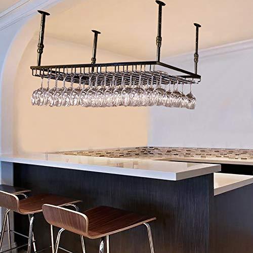 JHGJBJ Hängende Weinglashalter, Armierungseisen Decke hängenden Weinglas Lagergestell, höhenverstellbar: 30-60cm for Home/Küche/Bar