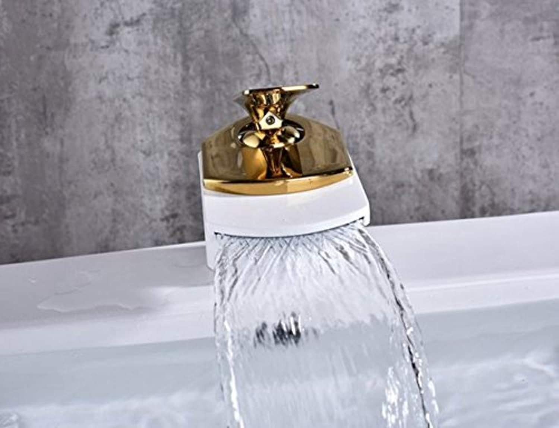 Wasserhahn360 ° Drehbarer Wasserhahn Retro Wasserhahn Becken Wasserhahn Gold Wei Bad Wasserhahn Becken Wasserfall Kran Heier Und Kalter Wasserhahn