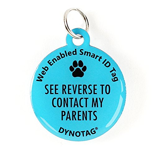 Dynotag Web Enabled Super Pet ID Smart Tag. Deluxe Coated Steel, with DynoIQ & Lifetime Recovery Service. Fun Series (Blue: See Reverse to Contact My Parents)