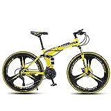 Bicicletas, Bicicletas de montaña Plegables, Cuadros de Acero de Alto Carbono de 21 velocidades, 24 velocidades, 27 velocidades, 24 y 26 Pulgadas, Bicicletas para Estudiantes, (Color: Amaril