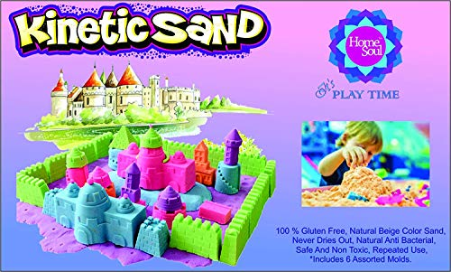 Homesoul Magic Sand Activity Play Set with Inflatable Sandbox and Molds,(Assorted Colour) (2 KG)