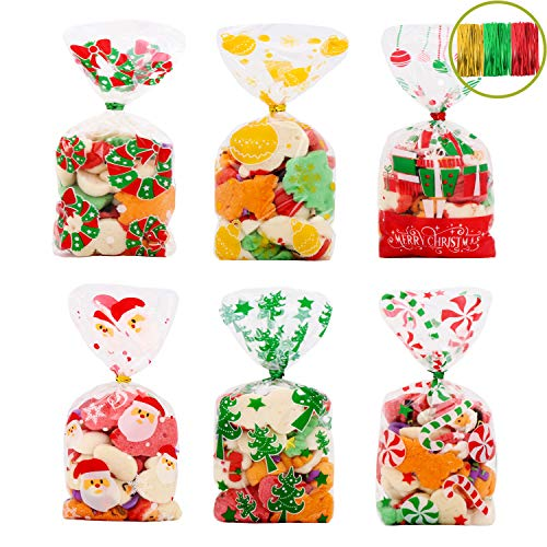 VEYLIN 120Pcs Christmas Cellophane Goody Bags, Xmas Cello Candy Bags with Ties for Holiday Party Favors