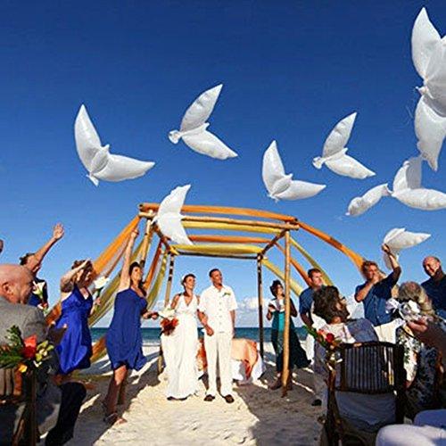 Witte ballon duif, 10 stuks witte duif ballon luchtballonnen wit pigeon ballon latex ballonnen voor bruiloft en verjaardag Valentijnsdag bruidsgeschenken float decoratie 42x105cm wit