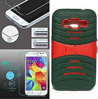 [ NP ARMOR ] Premium Tempered Glass Screen Protector + uARMY/RED Phone Case for Samsung Core Prime/Samsung Prevail LTE / G360P G360 SM-G360V G360T1 G360T G360H