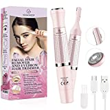 Eyebrow Trimmer & Facial Hair Removal for Women, 2 in 1 Eyebrow Razor and Hair Remover, Rechargeable Painless Eyebrow Lips Body Face Razors for Women