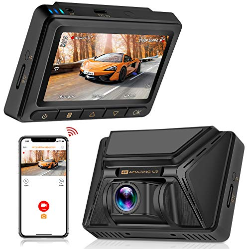 Oasser Dashcam Autokamera Full HD 4K 2880x2160P Car Camera mit GPS & WiFi Funktionen 3 Zoll LCD-Bildschirm 170° Weitwinkelobjektiv Bewegungserkennung, Daueraufnahme, Nachtsicht und G-Sensor