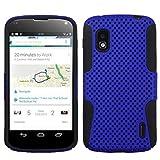 Asmyna ALGE960HPCAST007NP Astronoot Premium Hybrid Case with Durable Hard Plastic Faceplate for LG Nexus 4 E960 - 1 Pack - Retail Packaging - Dark Blue/Black