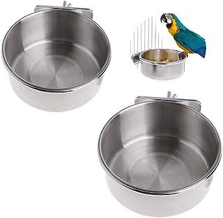 Gfdg Comedero para Pájaros,2 Piezas Cuenco de Acero Inoxidable para Colgar,Taza de Comida para Pájaros,Cuenco de Comida Co...