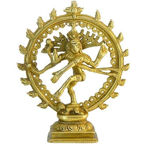 Figura latón Nataraja 16,5 cm Natraj estatua dorada Shiva que baila hinduismo deidad dios India