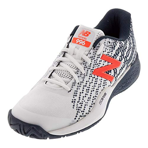 New Balance Men's 996 V3 Hard Court Tennis Shoe, White/Navy, 9.5 M US