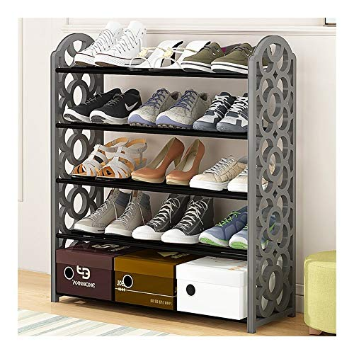 ZZCD Scarpiera Tubo Metallico Shoe Rack (Color : Grey 4L)