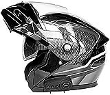 Caschi Bluetooth Per Moto, Casco Integrale Per Motocicletta Con Interfono Bluetooth, Casco Modulare Con Doppia Visiera, Standard DOT/ECE Per Uomo Donna 6,M=(57~58CM)