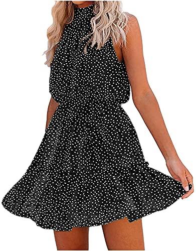 LYDIANZI Vestido Gráfico Floral para Mujeres Halter Sin Tirantes Mini Falda Gasa Sin Mangas Playa Vestido De Playa Volante Vendaje Vestidos Casuales(Size:Extragrande,Color:Negro)