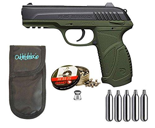 Outletdelocio. Pistola Perdigón Gamo PT-85 4,5mm Blowback Olive Drab + Funda Portabombonas...