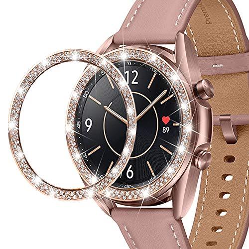 Miimall - Anillo para Samsung Galaxy Watch 3 41 mm, acero inoxidable con cristales de lujo antiarañazos, anillo de reloj para Samsung Galaxy Watch3 (41 mm), color oro rosa