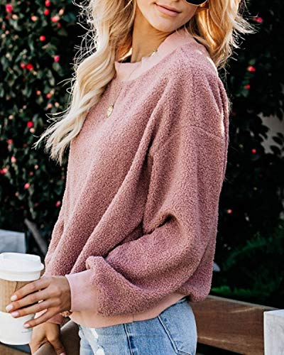 kenoce Womens Casual Fuzzy Fleece Pullover Loose Long Sleeve Sweatshirt Crew Neck Outerwear Tops Pink Size XL/UK 18