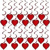 Rorchio Guirnaldas de corazón rojo, Decoración de San Valentín, Serpentinas de techo Adorno de compromiso de fiesta de aniversario de boda con gancho (20 piezas)