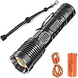 Linterna recargable USB de 100000 lúmenes, linterna táctica potente ultrabrillante XHP90.2, linterna LED de mano con zoom resistente al agua para acampar de emergencia al aire libre