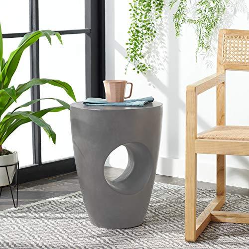 Safavieh Outdoor Collection Aishi Modern Concrete Dark Grey Round 17.7-inch Accent Table
