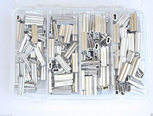 Aluminium Double Barrel Crimp Kit je 501.5,1.7,2.0, & 2,3mm 200lb-400lb