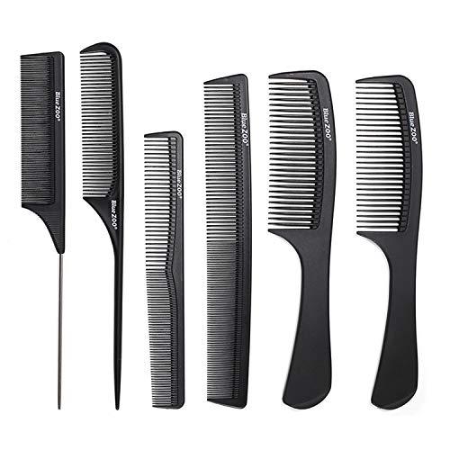 6 PCS Noir Anti-statique En Fiber De Carbone Cheveux Peignes Kit pour Outil de Cheveux Cosmétiques Accueil Salon Commode Styling Barbiers Ensemble