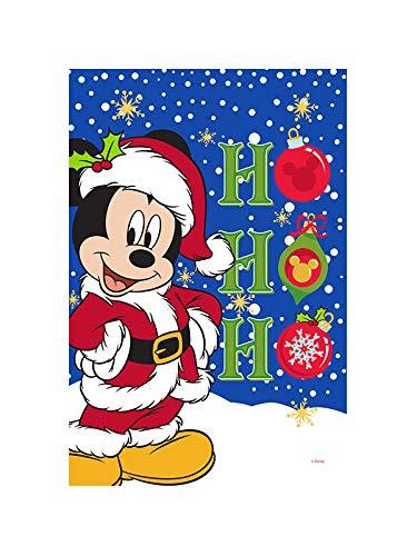 Flagology.com, Disney Santa Mickey – Garden Flag 12.5' x 18', Exclusive Fabric, Officially Licensed Disney, Christmas