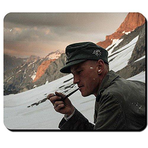 Gebirgsjäger Soldat WK 2 Alpen Berge Schnee Edelweiss Pfeife - Mauspad Mousepad Computer Laptop PC #8294