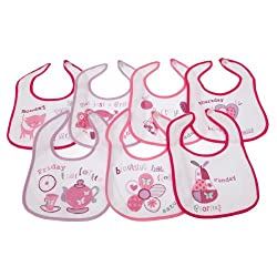 High quality baby bibs. Perfect for protecting your clothes from food. Comfortable to wear. Fabric: 65% Cotton and 35% Polyester. Made with PEVA fabric on the back.