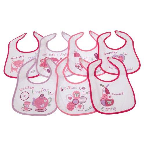 Bavoirs pour bébé à motifs 7 jours de la semaine, pour garçon ou fille - Rose - 0-6 mois