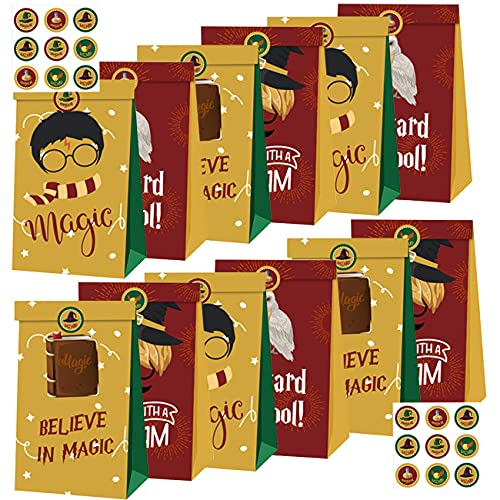 Harry Potter Kraft Paper Bags - Miotlsy Party Supplies Party Favor Bag Sweet Candy Kraft Gift Bags Mini Flat Bottom Paper Party Bags With Stickers Grocery Paper Bags for Kids (12pcs)