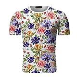 Yowablo t-Shirt Homme col o Nouveau T-Shirt à Manches Courtes imprimé col Rond à la Mode d'été (M,4Blanc)