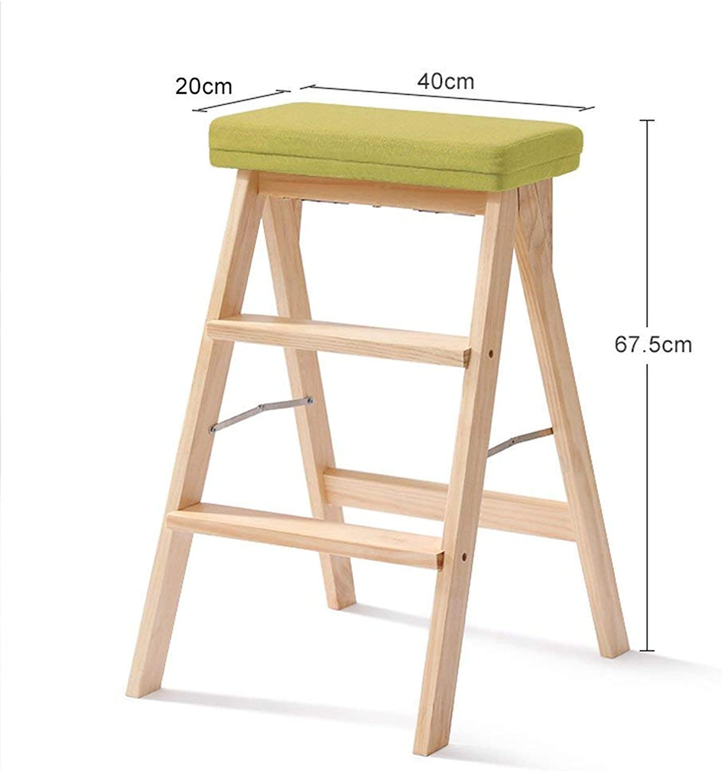 D-Z Chair Stool Ladder Step Stool Kitchen Portable Footstool Solid Wood Multipurpose Folding Step Stool, Stool 2, a