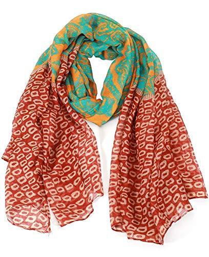 Dielay Dames Sjaal met Dierenprint 180x90 cm Bruin en Groen
