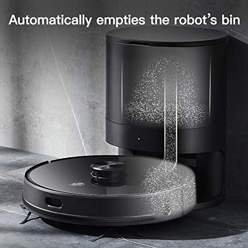 Proscenic M7 PRO Robot Aspirapolvere con Tecnologia Navigazione Laser LDS, Robotino Lavapavimenti con APP & Alexa, Supporto Svuotamento Automatico, per Pulizia Domestica/Peli Animali/Capelli/Polvere