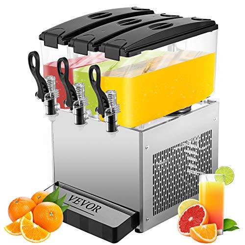 VEVOR Commercial Beverage Dispenser, 9.5 Gallon 36L 3 Tanks Ice Tea Drink Machine, 12 Liter Per Tank...