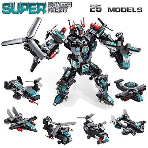 STEM Building Toys, 577PCS Robot Toys for 6 Year Old Boys, 25-in-1 Engineering Building Bricks Construction Vehicles Kit Building Blocks Gifts for Kids Aged 5 6 7 8 9 10 11 12 Yr Old