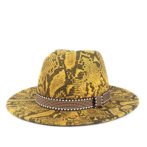 YuanBo Wu Damas Retro de Las Bragas del Sombrero de ala del Sombrero de Lana de poliéster Hombres de Sombrero Cloche otoño Invierno Fieltro Jazz Sombrero (Color : 8, Size : 56-58cm)