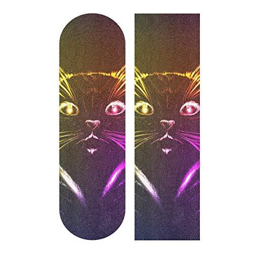 MNSRUU 3D Bunte Katze Skateboard Griptape Blatt Scooter Deck Sand Papier 22,9 x 83,8 cm