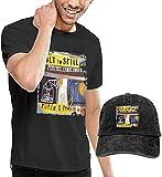 Photo de HQSL Ensemble de Chapeau de Cow-Boy de Baseball à Manches Courtes pour Hommes Men's Built to Spill Perfect from Now on T Shirt and Washed Denim Baseball Dad Hats Black
