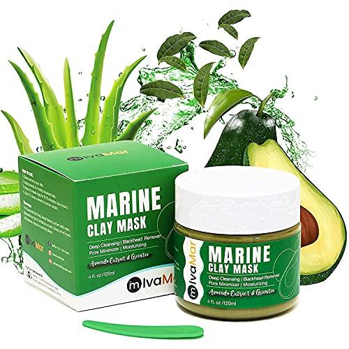 Organic Marine Face Clay Mask with Avocado Aloe Vera&Green Tea–100% VEGAN...
