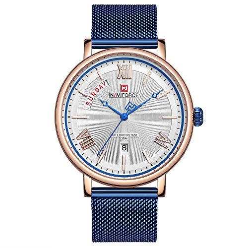 Reloj de Cuarzo analógico de Acero Inoxidable japonés para Hombre con Correa de Acero Inoxidable -A