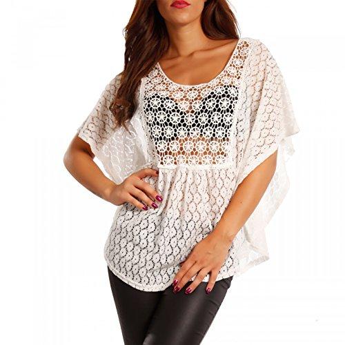 Damen Shirt aus Häkelspitze Tunika Transparent mit Rückenausschnitt, Farbe:Weiß2;Größe:One Size (34/36/38)