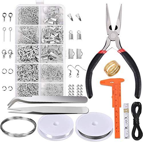Kit de suministros para joyería de reparación de joyería con accesorios de joyería alicates de joyería y cables de abalorios