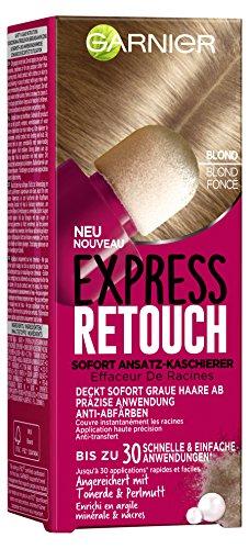 Garnier Express Retouch Sofort Ansatz-Kaschierer in Blond, deckt graue Haaransätze präzise ab, mit Schwamm-Applikator, 10 ml