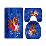 Funny Christmas Santa Claus Riding Reindeer in Snow Bathroom Rugs and Mats Sets 3 Piece, Memory Foam Bath Mat, U-Shaped Contour Shower Mat Non Slip Absorbent, Velvet Toilet Lid Cover Washable